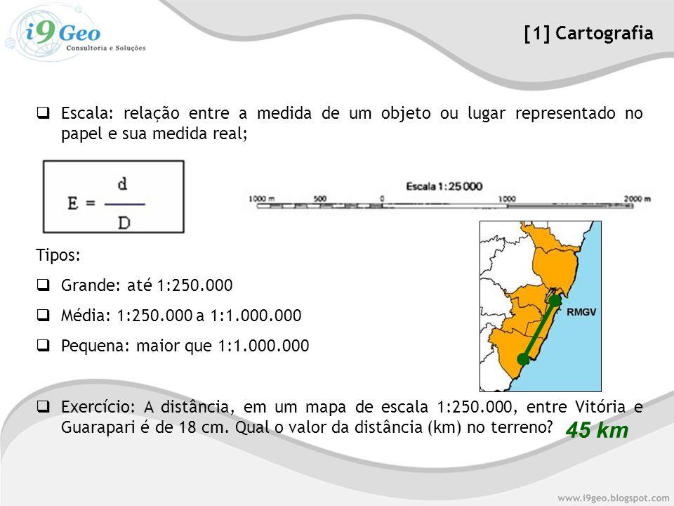 [1] Cartografia Escala: relação entre a medida de um objeto ou lugar representado no papel e sua medida real;